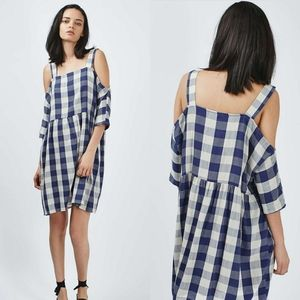 Topshop Blue Gingham Cold Shoulder Mini Dress